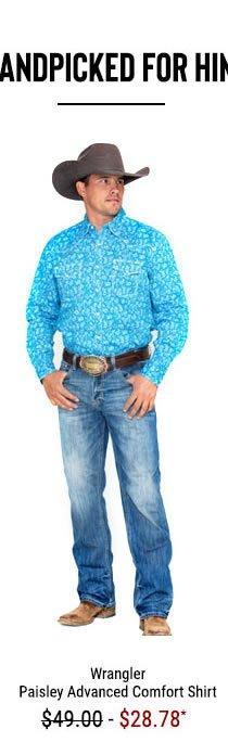 Wrangler 20X Men's Turquoise Paisley Print Advanced Comfort Long Sleeve Western Shirt