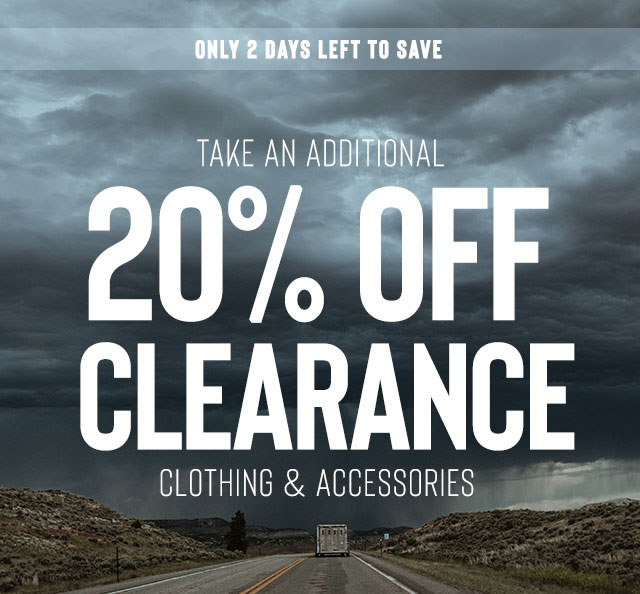 20% off Clearance Clothing and Accessories
