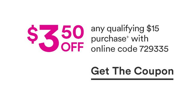 3.50 off any qualifying purchase iwth online code 729335