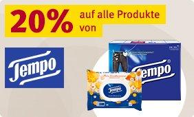 20% Rabatt auf alle Produkte von Tempo