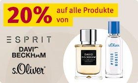 20% Rabatt auf alle Produkte von Esprit, David Beckham & s.Oliver