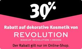 Nur im Online-Shop: 30% Rabatt auf dekorative Kosmetik von REVOLUTION