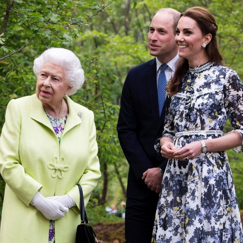 Queen Elizabeth, Prince William, and Kate Middleton