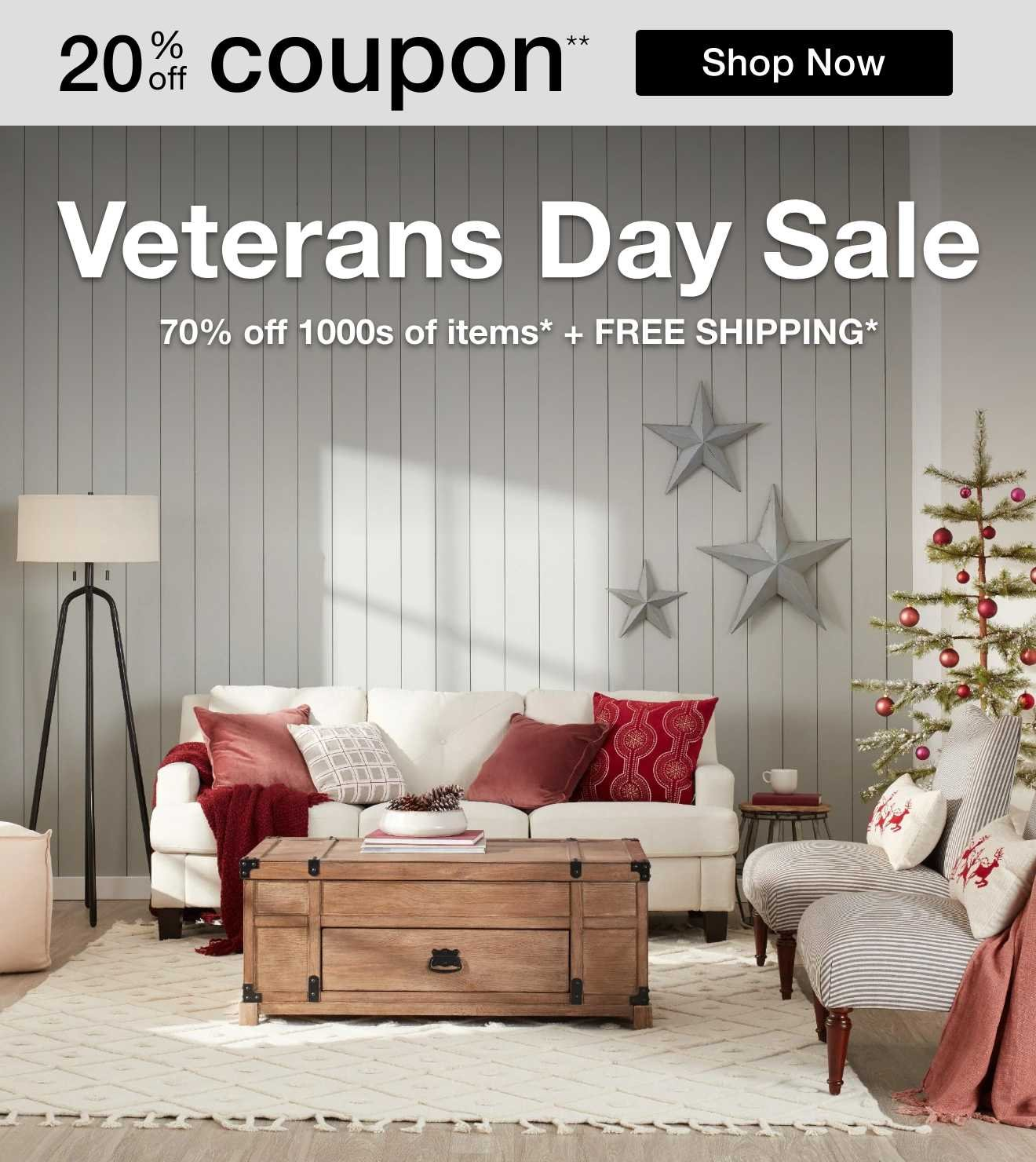 Veterans Day Sale, 70% off 1000s of items* + FREE SHIPPING*