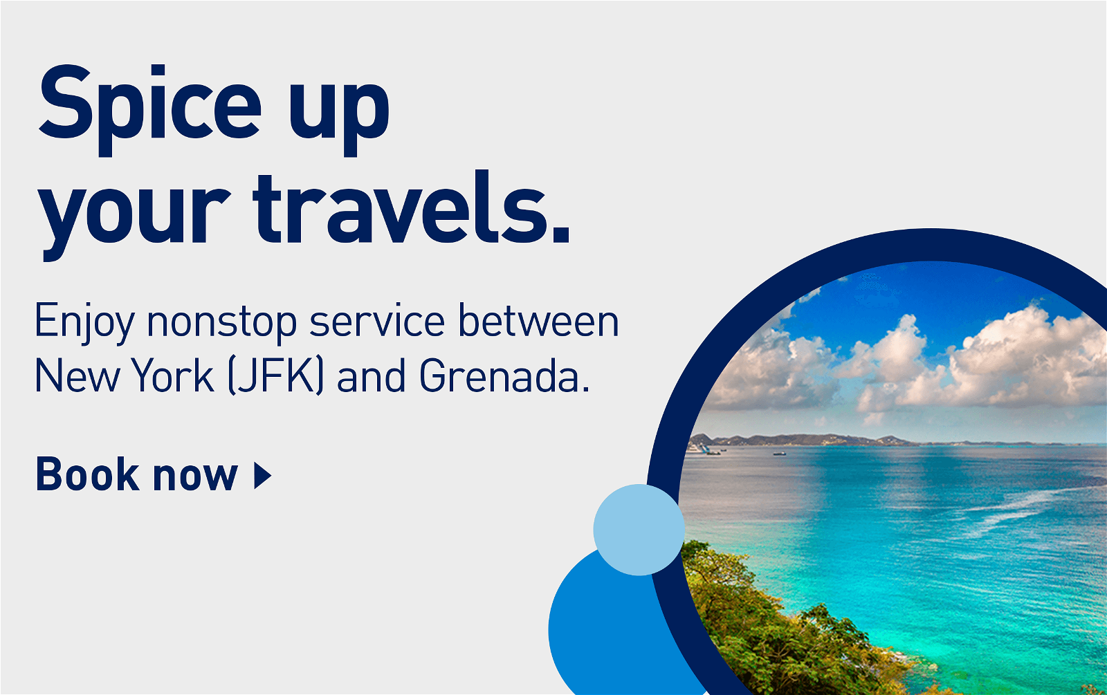 Spice up your travels. | Enjoy nonstop service between New York (JFK) and Grenada. | Book now