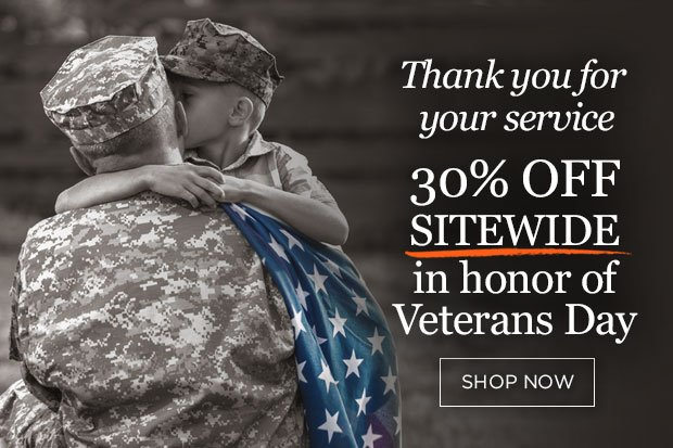 Veterans Day 30% off with purchases of $100 or more