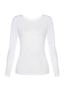 White cotton long-sleeved top