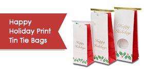 Happy Holidays Print Tin Tie Bags