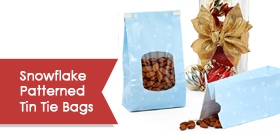 Snowflake Patterned Tin Tie Bags