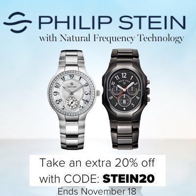 New to Ashford:  Philip Stein Timepieces with Natural Frequency Technology Take an extra 20% off  with CODE: STEIN20 Offer Ends November 18