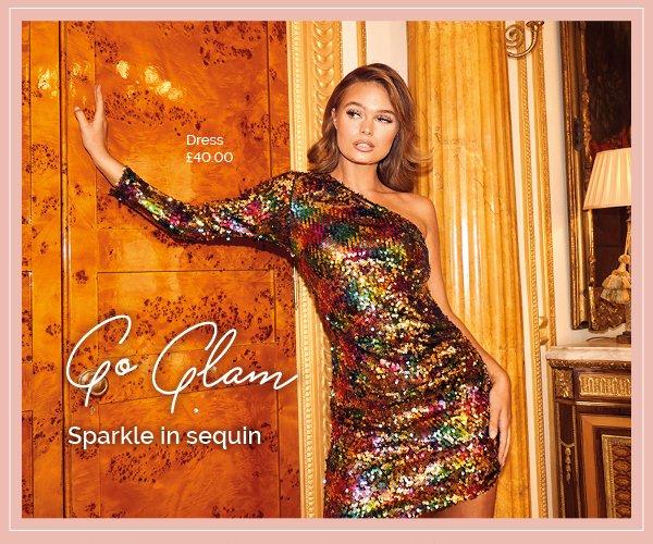 QUIZ Clothing Multicoloured Sequin One Sleeve Asymmetric Dress