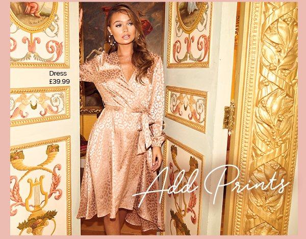 QUIZ Clothing Gold Leopard Print Satin Dip Hem Dress