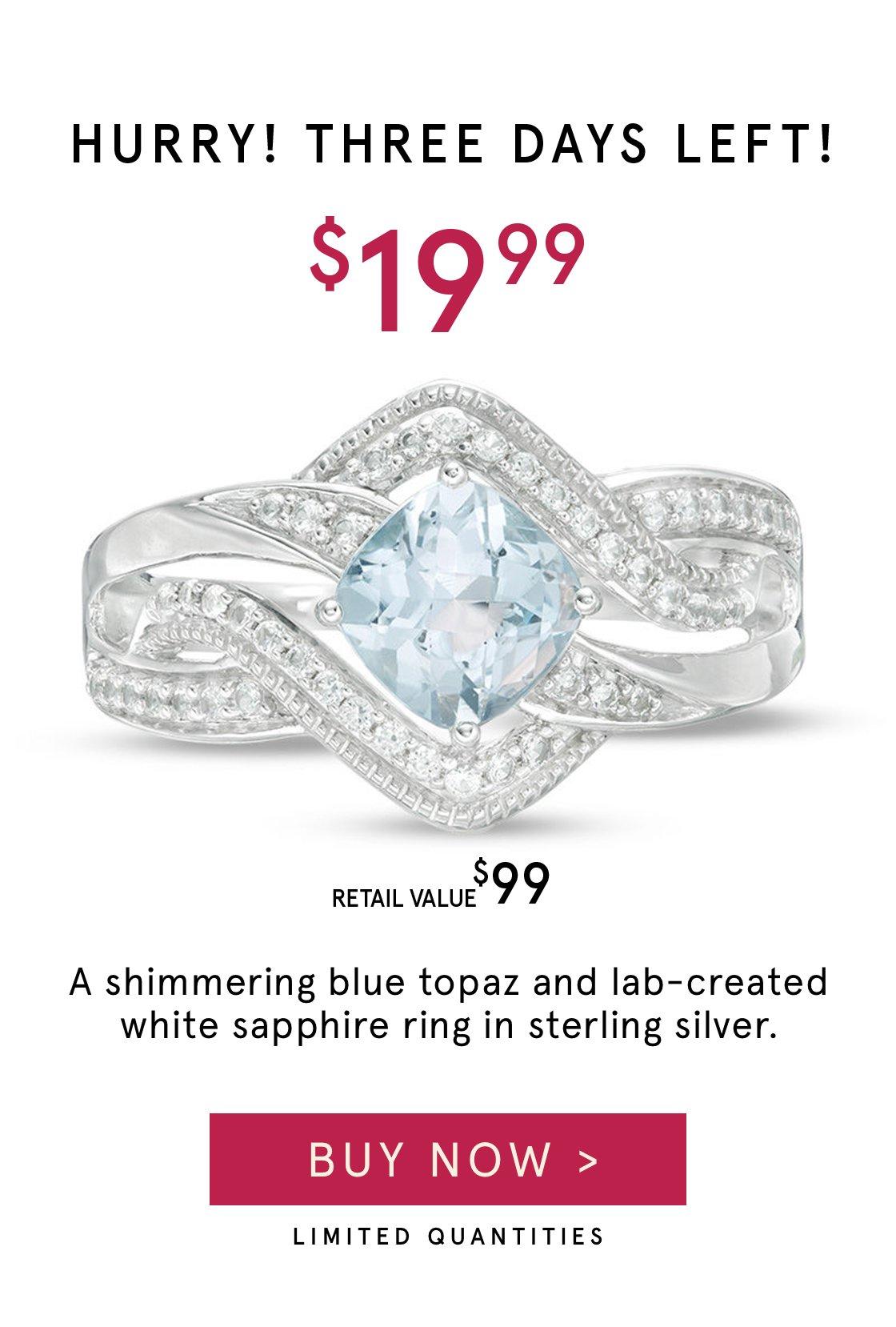 $19.99 Shimmering Blue Topaz Ring