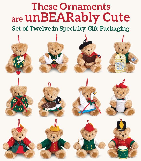 These Ornaments are unBEARably Cute Set of Twelve in Specialty Gift Packaging
