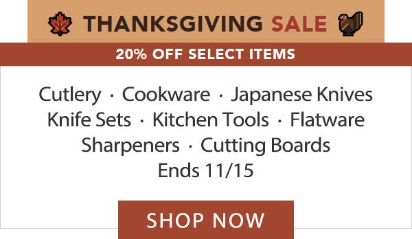 Thanksgiving 20% Off Select Items