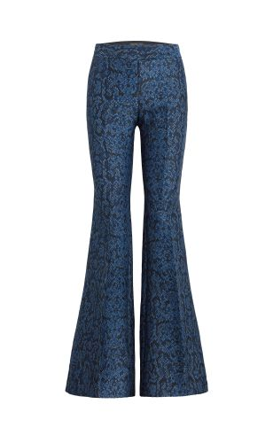 Lorette Snake Printed Flared Pants - Navy