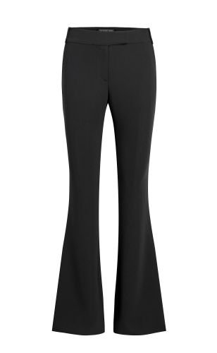 Iva Dry Crepe Flared Pants - Black