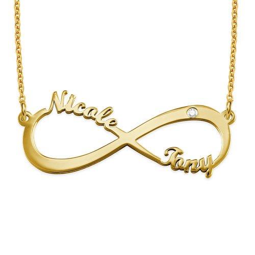 Collana Infinito con Nome in Placcato Oro con Diamanti