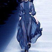 Women's Elegant Swing Dress - Geometric S...
