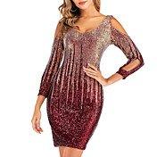 Women's Sheath Dress - Geometric Backless...