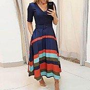 Women's Swing Dress - Striped Blue S M L XL