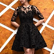 Women's Elegant A Line Dress - Solid Colo...