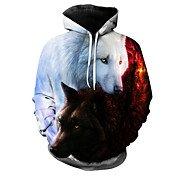 Men's Long Sleeve Hoodie - 3D / Animal Pr...