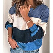Women's Striped Long Sleeve Pullover, Rou...