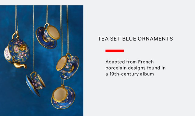 Tea Set Blue Ornaments | Adapted from French porcelain designs found in an 19th-Century album