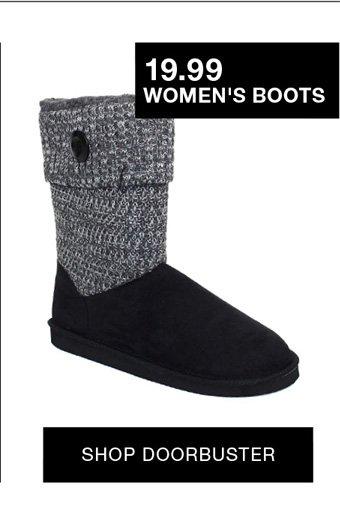 19.99 women's boots shop doorbuster