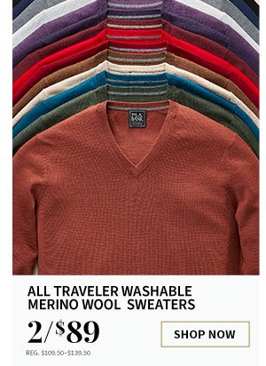 2/$89 All Traveler Washable Merino Wool Sweaters