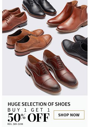 Huge Selection of Shoes Buy 1 Get 1 50% Off