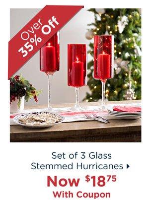 Set of 3 Glass Stemmed Hurricanes