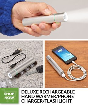 ELUXE RECHARGEABLE HAND WARMER/PHONE CHARGER/FLASHLIGHT