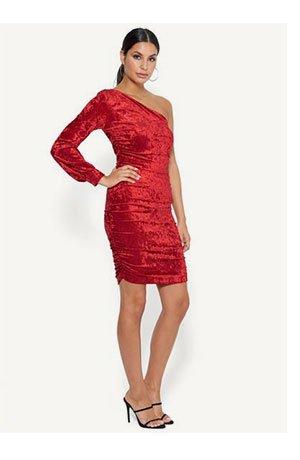 Velvet One Shoulder Dress