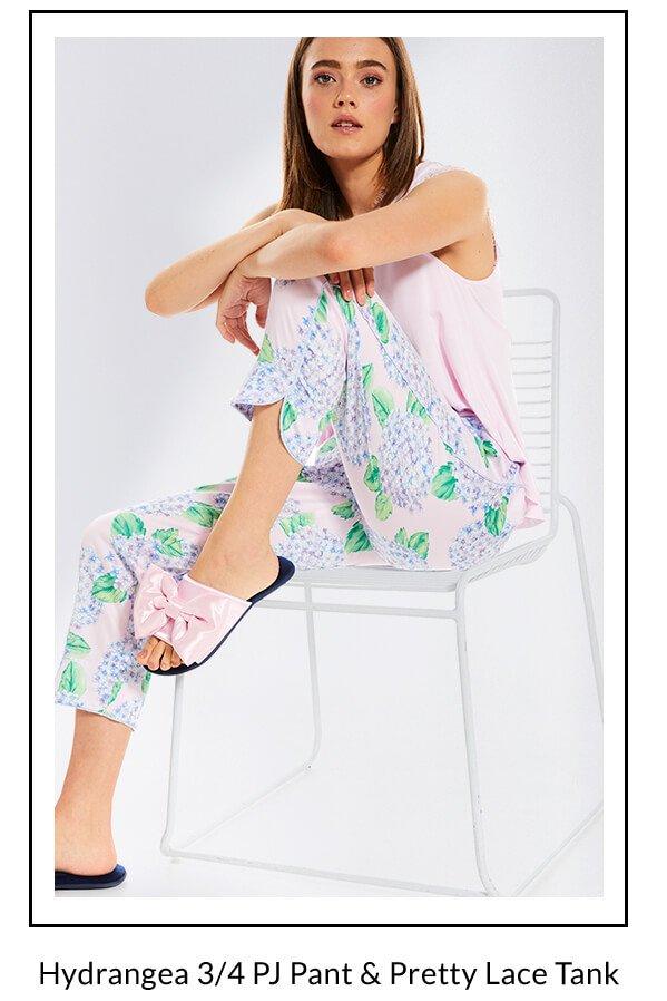 Hydrangea 3/4 PJ Pant & Pretty Lace Tank