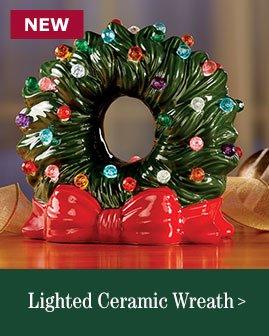 Lighted Ceramic Wreath