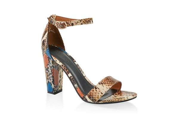 Snake Print Ankle Strap High Heel Sandals