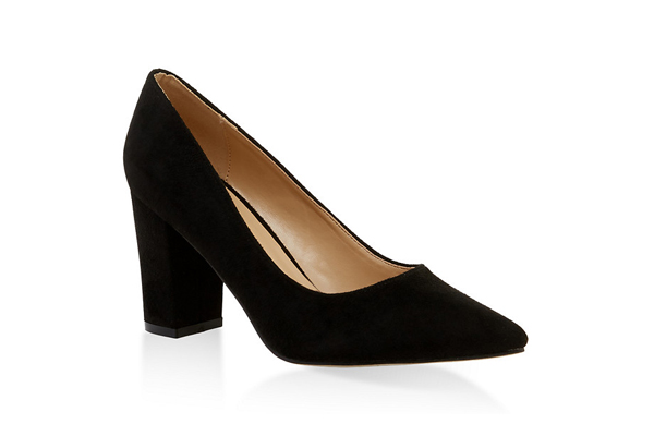 Block Heel Pointed Toe Pumps