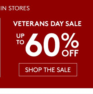 VETERANS DAY SALE - UP TO 60% OFF