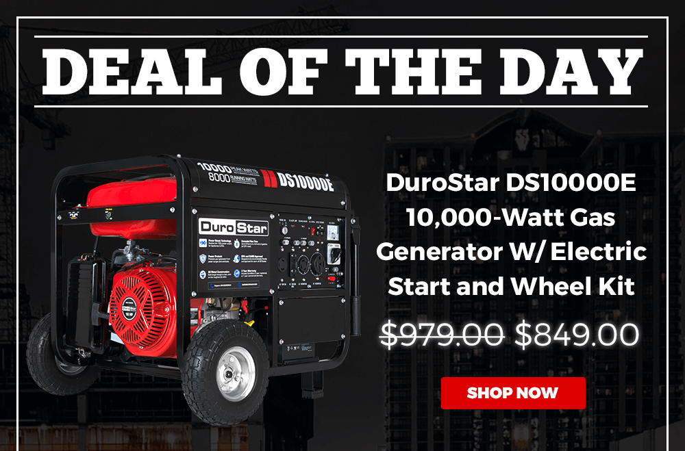 DUROSTAR DS10000E 10000-WATT 18-HP GAS GENERATOR W/ ELECTRIC START AND WHEEL KIT | WAS $979.00, NOW $849.00 | 2 DAYS ONLY
