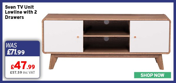 Sven TV Unit Lowline with 2 Drawers