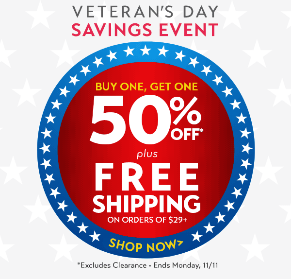 Buy one, get one 50% off (excludes clearance) + free shipping on orders $29+