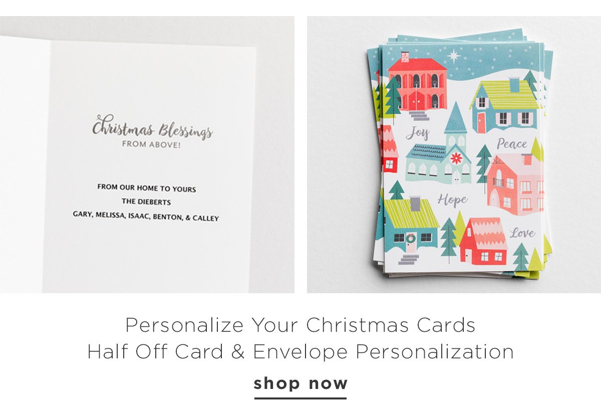Personalize Your Christmas Cards Half Off Card & Envelope Personalization