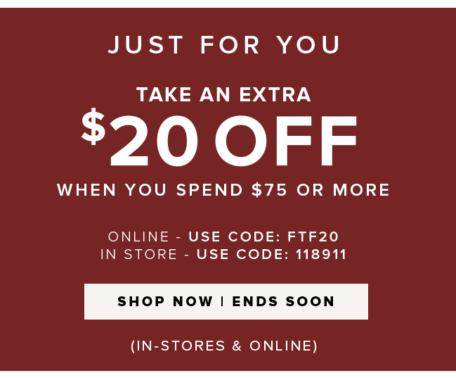 JUST FOR YOU. TAKE AN EXTRA $20 OFF WHEN YOU SEND $75 OR MORE