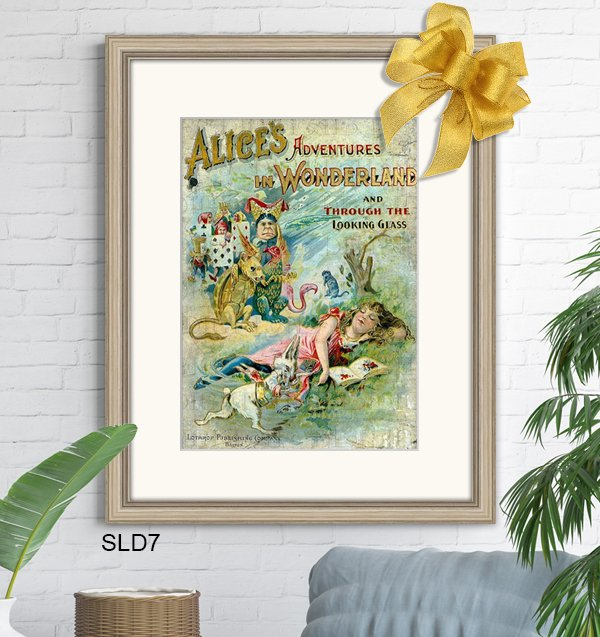 Fun Alice in Wonderland vintage poster framed in silver Slimwoods SLD7 with off white mat.