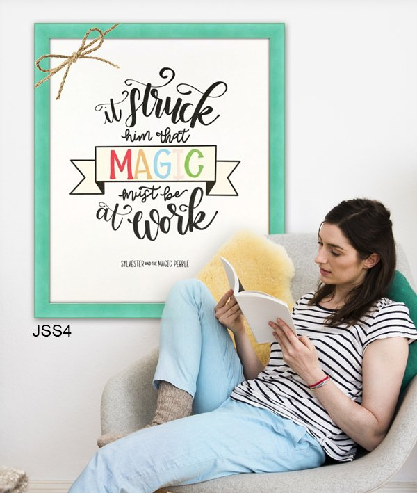 Typographical book quote poster in colorful aqua blue frame JSS4.