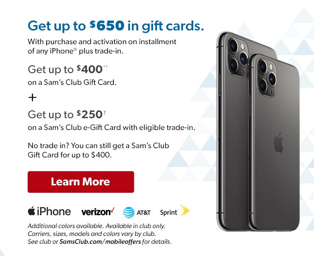 Get up to $650 in gift cards with purchase & activation on installment of any iPhone® plus trade in. Learn More.