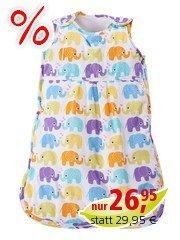 Schlafsack Baby Bio-Baumwolle Baby Elefanten ca. 70 cm