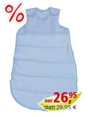 Schlafsack Baby, Baumwolle (kbA), hellblau-weiß-gestreift Gr.1 (60cm)